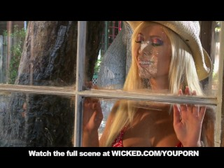 Blonde cowgirl tits ass fucks in cabin...