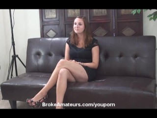 Amateur casting girl gets mouth full of cum...