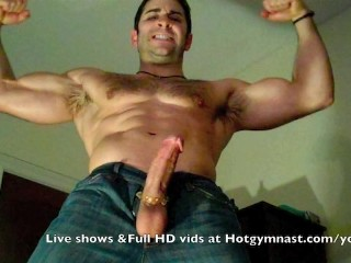 Explosive cumshot in tight jeans!...