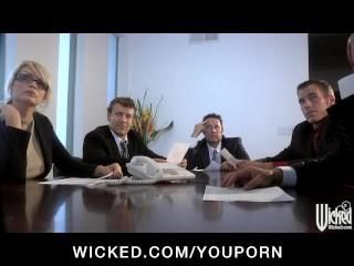 Busty Redhead Secretary Slut Deep Throats Dicks In Office y...