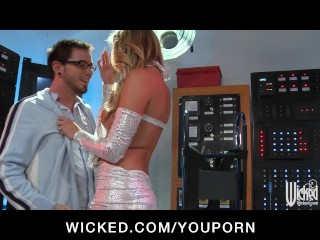 Hot blond rides her lab assistant's cock