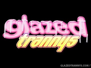 Glazed tranny rides dick...