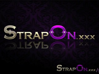 Strapon she takes pleasure in man