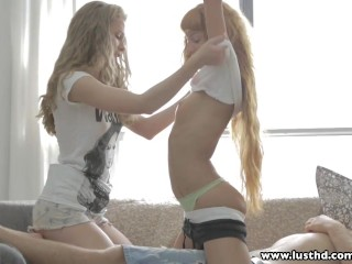 Lusthd lucky guy fucks a blonde and euro teens...