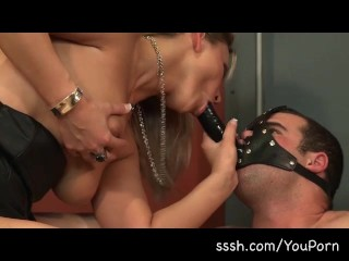 Mistress Elise playing with her male puppy