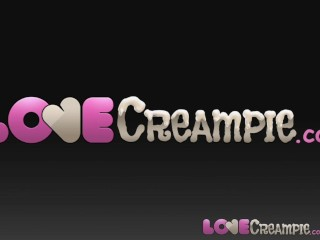 Love creampie massive cock delivers huge load of...