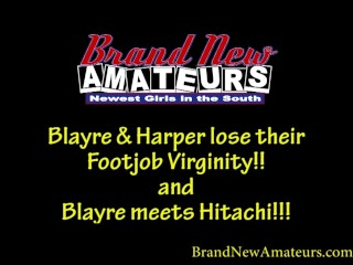 Brandnewamateurs mega hotty blonde blayre and redhead harper lose footjob virginity and blayre meets  orgasms hard several times...