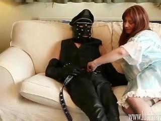 Crossdresser Maid gives slow wank and sensual cock sucking blowjob