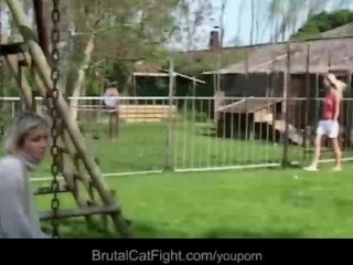 Hysterical blondes tear apart each other crazy fight to fuck a cock...
