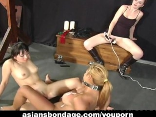 BDSM group with horny asian girl
