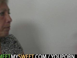 Old mom seduces his new girl into...