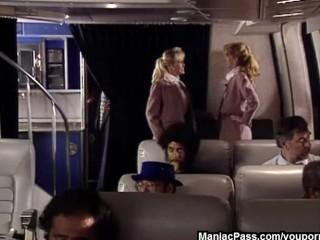 Hot flight attendants threesome