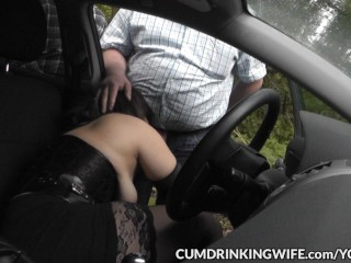 Slutwife Fucked And Creampied By Strangers At Rest Area Car Parks...