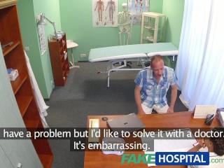 Fakehospital patient gives his hot brunette nurse pie...