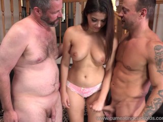 Sexy wife shares a cock and makes him eat cum