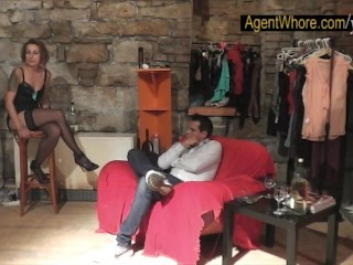Young man gets handjob from redhead agent whorem...
