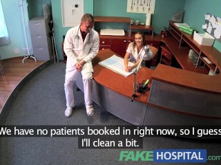 Fakehospital hot sex with nurse in patient waiting room...