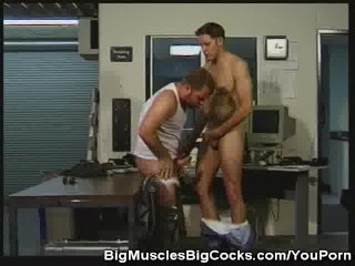 Muscled hunks office anal fucking...