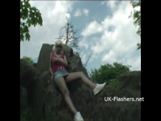 Teen blonde flashers outdoor striptease of young amateur...