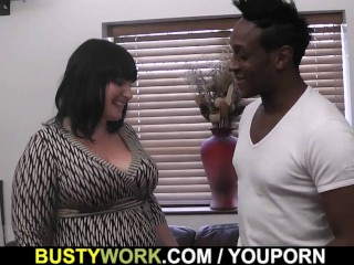 Busty lady boss in fishnets loves black meat...