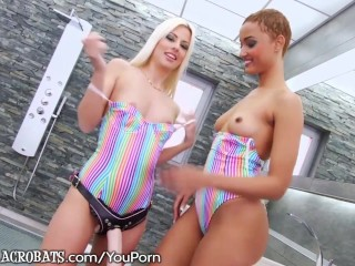 French Babe Analed by Lesbian with Huge Strapon