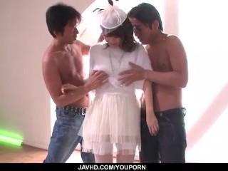 Maika asian nurse demolished by two hunks...